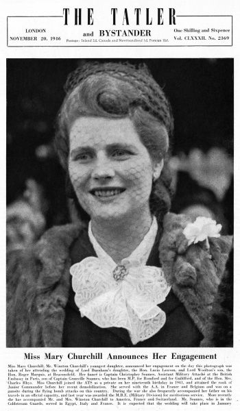 Miss Mary Churchill(b. 1922), Mr. Winston Churchill's youngest daughter, announced her engagement on the day this photograph was taken of her, attending the wedding of Lord Burham's daughter, the Hon. Lucia Lawson, and Lord Woolton's son, the Hon