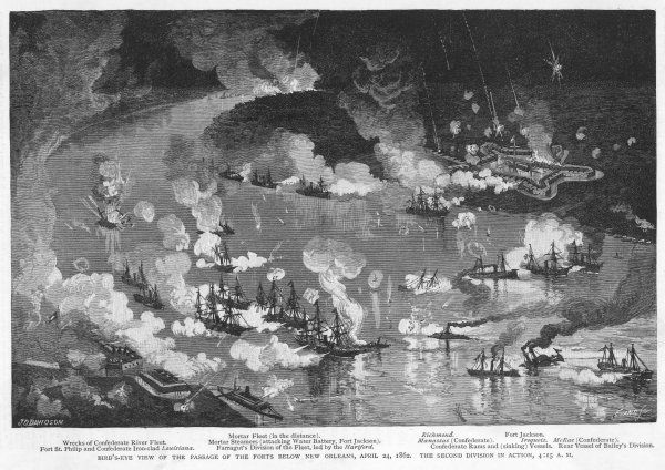 The Mississippi is the scene of continuous naval operations throughout the war : here Union vessels engage confederate forts below New Orleans