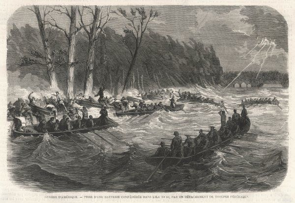 Lightning flashes as Union forces land on Island number 10, where the Confederates have a battery which threatens river traffic