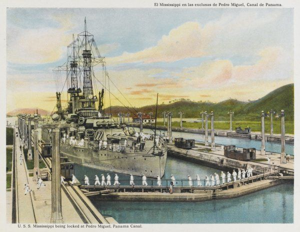 The U.S.S. warship 'Mississippi' passes through the Pedro Miguel lock