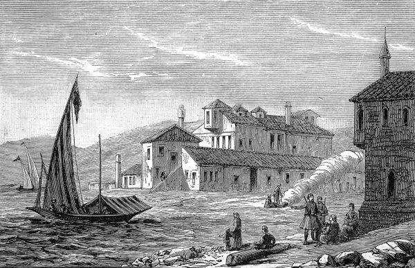 Engraving showing Missolonghi, Western Greece, 1888. It was here that George Gordon, Lord Byron, died from marsh fever whilst fighting the Turks in 1824