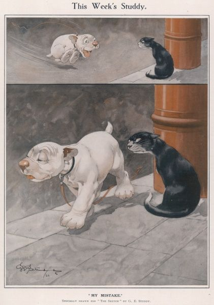 Bonzo, the comic canine creation of George Studdy zooms enthusiastically towards a mean looking cat and then casually walks by when he realises the cat is standing his ground and probably shouldn't be messed with! Credit line must read