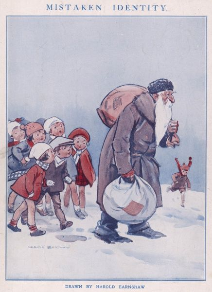 A group of children pursuing an old man carrying sacks and baggage through the snow, in the belief that he is Father Christmas