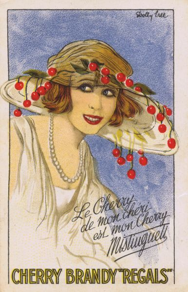 Sketch by Dolly Tree of Mistinguett for Cherry Brandy Regals Date: 1920s