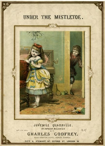 A little minx stands under the mistletoe... in anticipation Date: circa 1880
