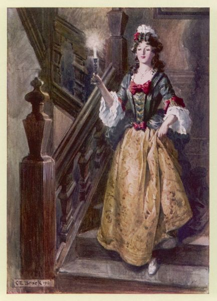 Mistress Beatrix with her candle comes down the staircase of Walcote House to greet Esmond