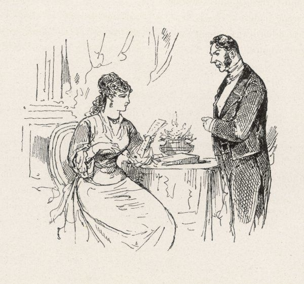 The mistress of the house discusses the evening's arrangements with her butler