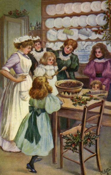 Mixing the Xmas pudding. Illustrator Anon. Date: circa 1907