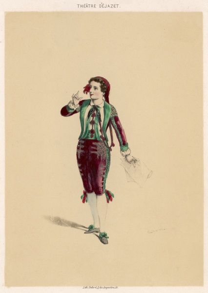 Mlle Dejazet in the role of Figaro in 'Les Premieres Armes de Figaro' by Victorien Sardou