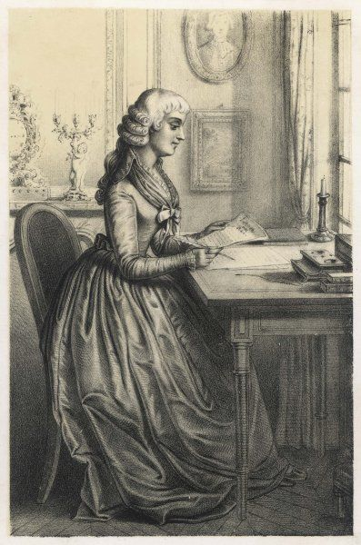 JEANNE-MARIE ROLAND French saloniste & victim of the revolution, shown here at her writing desk