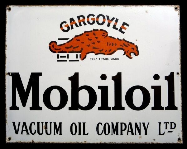 An enamel sign advertising Mobiloil. *EDITORIAL USE ONLY*