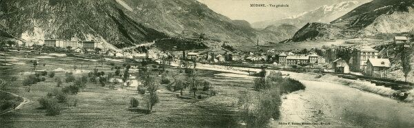 Panoramic view of Modane, France. A commune in the Savoie department in the Rhne-Alpes region in south-eastern France