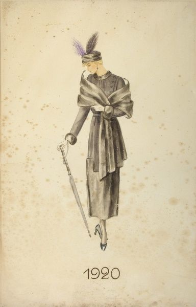 Mode chart, 1920 - Model with coat, coat hat with feathers an umbrella. Date: 1920