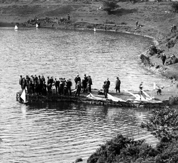 A Sunday model boat sailing club, meeting at Furnace Pond near Pontypool in South Wales
