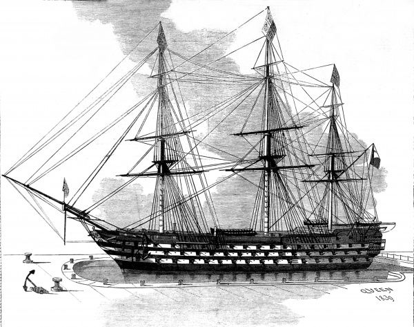 Engraving of a model of HMS 'Queen', displayed in the Naval Gallery of the South Kensington Museum, 1865. HMS 'Queen', launched in 1839, was a three-decker first-rate with 110 guns