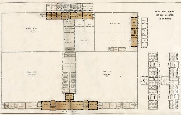 Plan view of a model industrial school for pauper children. The establishment, designed by architect Sampson Kempthorne, was intended to house and train pauper children away from the workhouse. Date: 1838