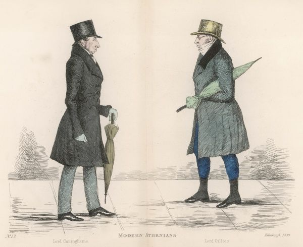 John, Lord Cuninghame (1783-1854) approaching Adam, Lord Gillies (1766-1842), both lawyers, judges and Whigs. Both carry umbrellas