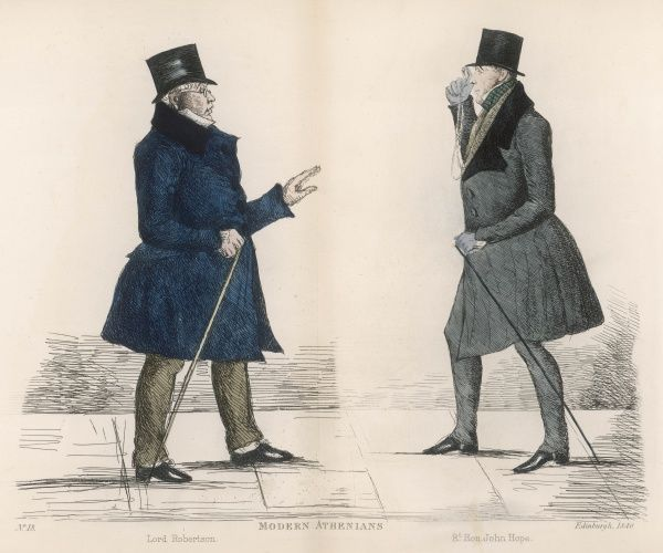 Two judges, The Hon. Patrick, Lord Robertson (1793-1855) and The Right Hon. John Hope, Lord Justice-Clerk (1794-1858) meet on the streets of Edinburgh