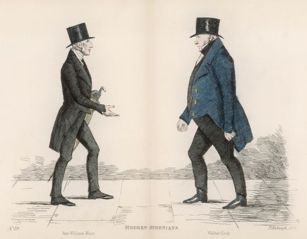 Rev. William Muir (1787-1869) of St. Stevens Church, holding out his hand to greet Mr Walter Cook (d. 1861), writer to the Signet