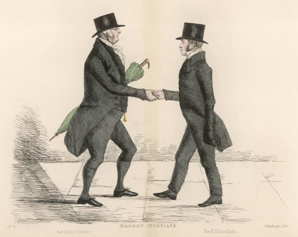 Rev. David Dickinson (1780-1842) of St, Cuthbert's church, approaching and shaking hands with Rev. Robert Candlish (died 1873) of St Georges Church