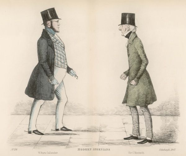 William Burn Callender (d. 1854) of Prestonhall, walking the same Edinburgh street as Sir Charles G S Menteath, a Baronet of the Shire of Dumfries