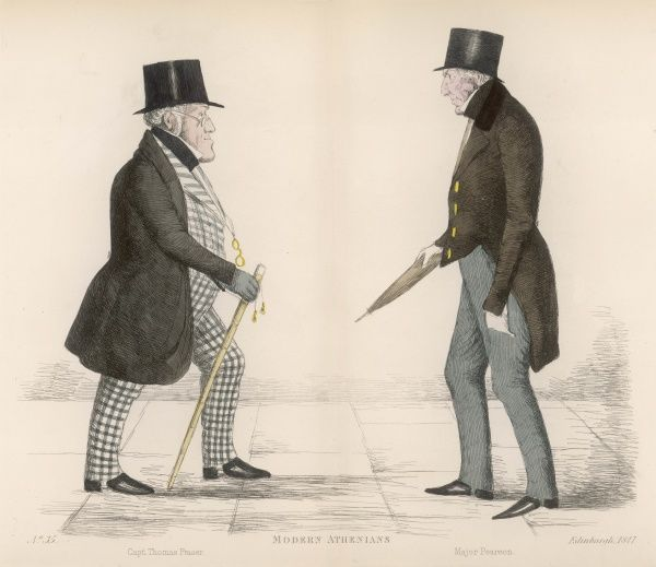 Captain Thomas Fraser (1796-1870) passing fellow military man Major James Pearson (1787-1848) on the streets of Edinburgh. LIttle is known of either