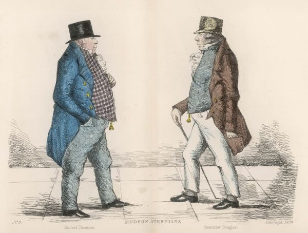 Robert Thompson (d. 1843) an importer of Irish linen and a Whig, approaching Alexander Douglas (d. 1851) for many years a Commissioner of Police, a director of the Water Company and a supporter of the Church of Scotland. Both men of rather stout