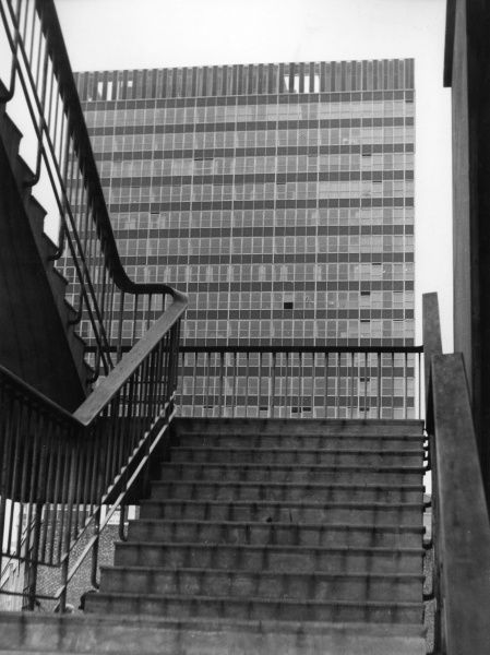 Steps leading up to 'modern' post World War Two office blocks in the London Wall area of the City of London. Date: 1960s