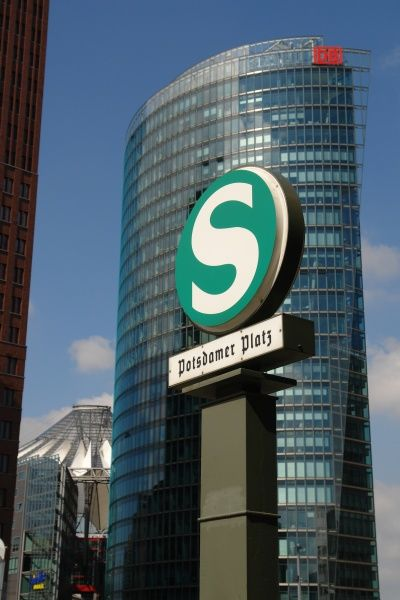 A modern office building at the Potsdamer Platz metro station in Berlin, Germany