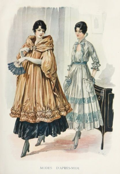 Two models dressed in elegant afternoon gowns, one with a sumptuous cloak or coat and fan