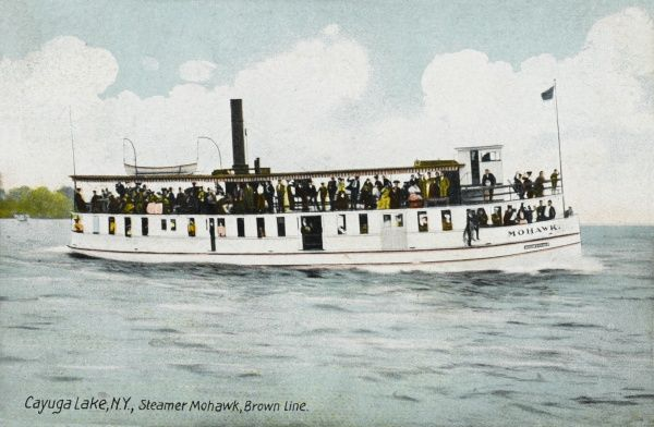 Mohawk Steamer of the Brown Line on Cayuga Lake, New York State, America