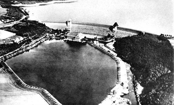 Aerial photograph showing the Mohne Dam and reservoir (top) before the 'Dambusters' raid of May 1943. This photograph was probably taken before the Second World War as there are no obvious signs of German military protection of the dam