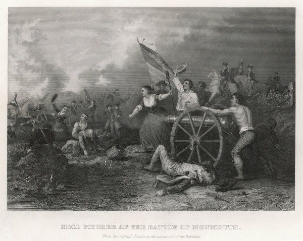 At the Battle of Monmouth, New Jersey, Molly Pitcher takes her wounded husband's place as an artilleryperson