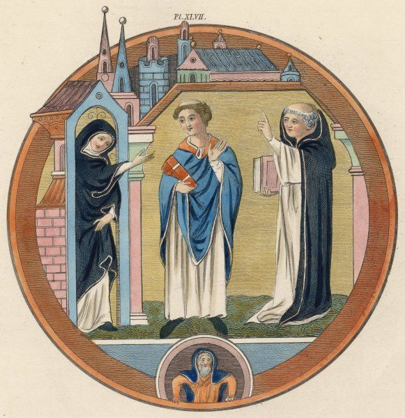 Monastical habits - two monks are delighted to be visited by a nun, and she is charmed to meet them
