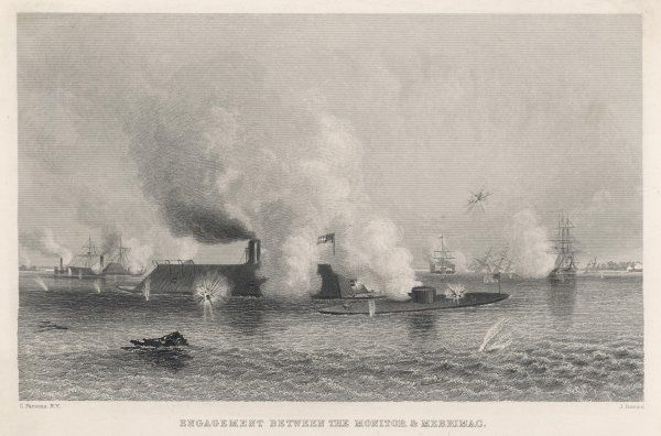 The Battle of Hampton Roads. The Confederates armoured frigate 'Merrimac' destroyed many Federal vessels, but retreated following action with 'Monitor', a turret ship
