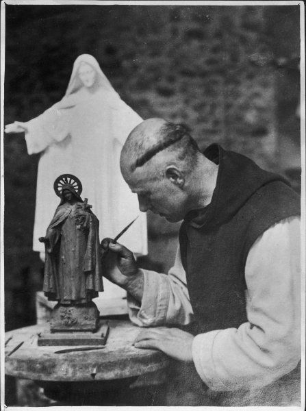 A monk from the Benedictine monastery of Lerins. He achieved fame as an artist. The statue of St Theresa he is working on in the photo was bought by the Queen of Italy