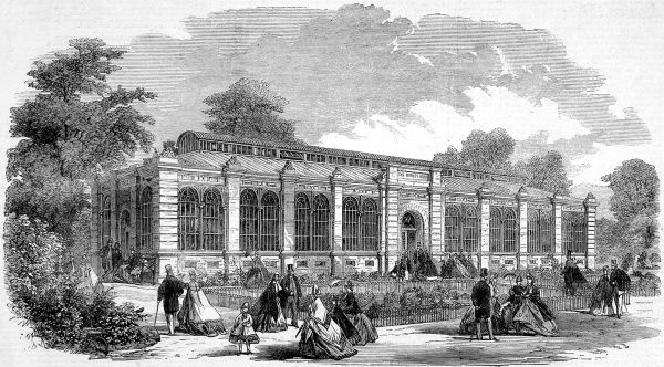Engraving showing the exterior of the monkey house at the Zoological Society's Gardens (London Zoo), Regent's Park, 1864