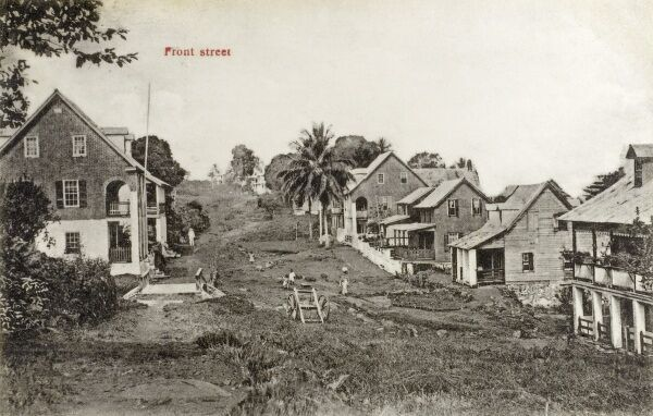 The Front Street of Monrovia, the Capital of Liberia, West Africa Date: 1919
