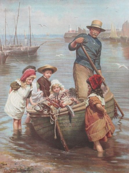 A group of Edwardian children peer inquisitively at the catch of a fisherman who has arrived back at a harbour with a haul of lobster, other crustaceans, eels and rather monstrous-looking fish