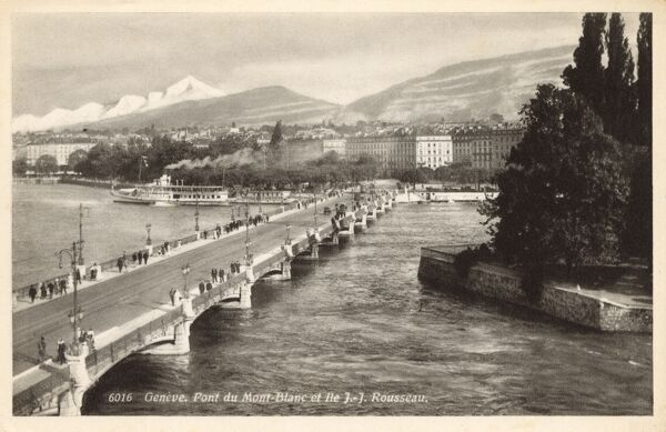 Mont Blanc Bridge and Ile J J (Jean-Jacques) Rousseau, Geneva, Switzerland Date: circa 1930s