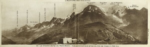 The Mont Blanc Railway, Mont Blanc, France - Panorama, taken close to Col de Voza Date: 1932