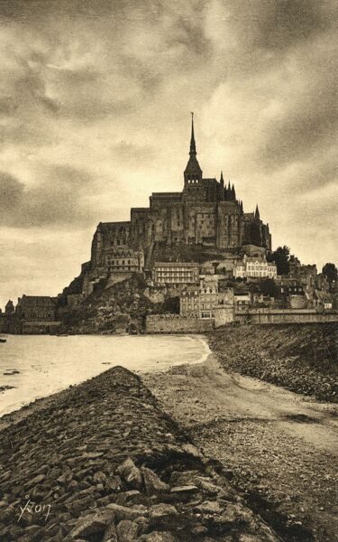 Mont St Michel, Normandy, France - view from the causeway Date: circa 1930s