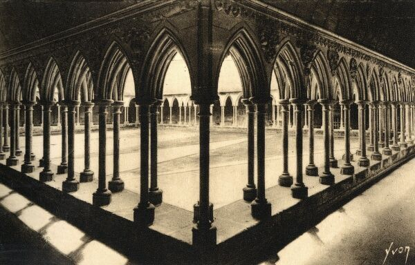 Mont St Michel, Normandy, France - The Cloisters of the Abbey Date: circa 1930s