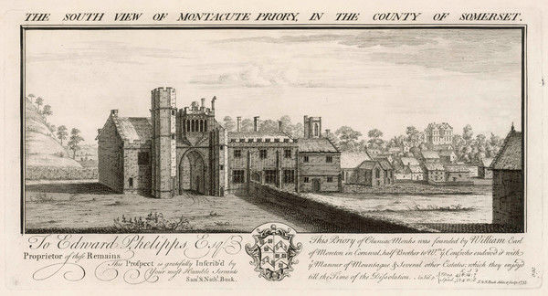 South view of Montacute Priory, Somerset, England. This priory of Cluniac monks was founded by William, Earl of Moreton, brother of William the Conqueror, c. 1091 - 1102