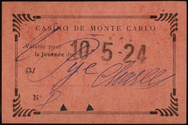 Entrance ticket to the Casino at Monte Carlo