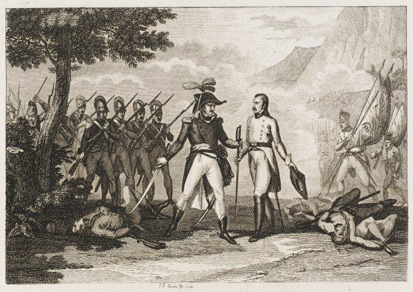After defeating the Austrians at Montegabello, Jean Aulay de Launay accepts the sword of the Austrian commander