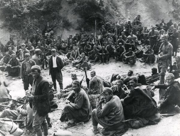 Montenegrin troops waiting for their battle orders on the eastern front during the First World War. Date: 1915-1917