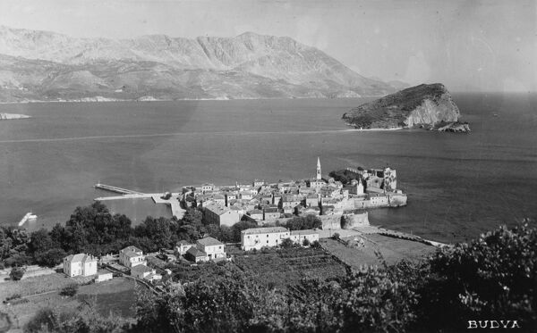 Montenegro - Budva - panoramic view of the town, sat on the waters edge