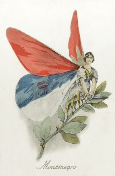 Montenegro - Depicted as one of the Allied 'Butterflies' Date: circa 1914