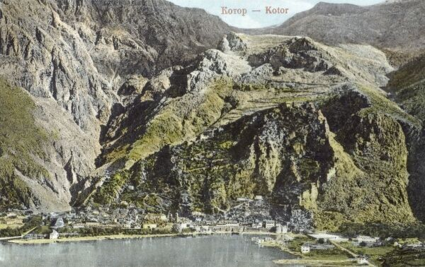 Montenegro - Kotor (Cattaro) - location showing the steep slopes to the south east of the town and the winding switchback road leading upwards... Date: circa 1910s